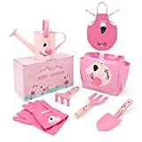 Hortem Kids Garden Tools Set, 7 PCS Children Gardening Set Include Kids Shovel, Kids Rake, Kids Garden Glove, Kids Apron and Watering Can, Garden Gifts for Kids (Flamingo Pink)
