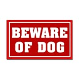 CafePress - Beware Of Dog Warning Sign Sticker - Rectangle Bumper Sticker Car Decal