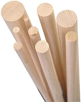 GEDOTEC Varilla redonda bastones BEECH hechos a mano | Longitud de barras redondas 1000 mm | palos madera estables de alta calidad | Hecho alemania | troncos manualidades y jardín - 10 piezas (50x1000mm): Amazon.es: Hogar