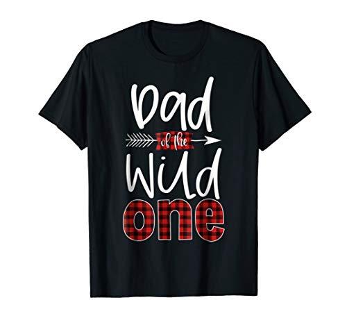 Mens Dad of the Wild One Shirt Plaid Lumberjack 1st Birthday Tee