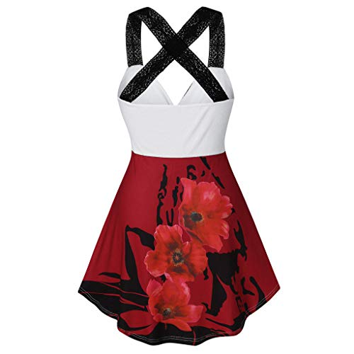 hositor Sleeveless Blouses for Women,Womens Lace Floral Printing Shirt Casual Tunic Tank Top Blouse WineRed