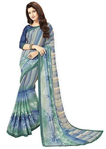 Glory Sarees Women's Printed Criva Crepe Saree(FT6007B_Blue)