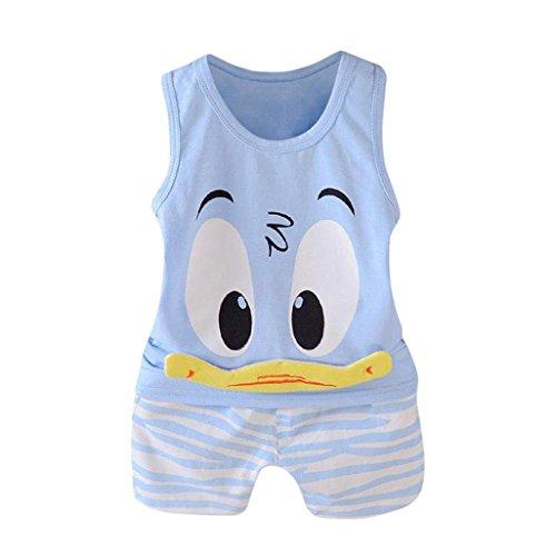 Summer Toddler Kids Baby Boys Cartoon Vest T-Shirt Tops Shorts Pants Beach Set (Blue -1, 24M)