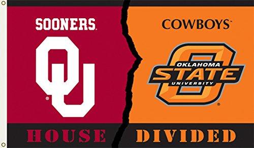 Oklahoma House Divided (NCAA Oklahoma - Oklahoma State Rivarly House Divided Flag with Grommets 60 x)