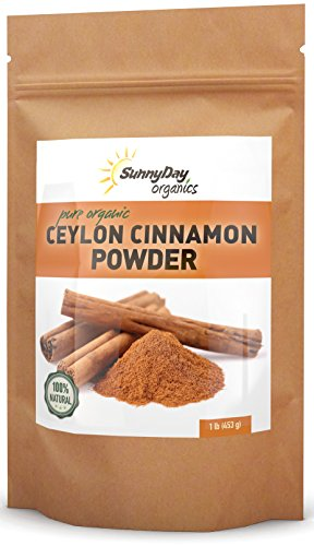 Organic Ceylon Cinnamon Powder - 1 Pound - Freshly Ground - True Ceylon Cinnamon From Sri Lanka - Unsweetened, Gluten-free, No Additives, Simply Delicious