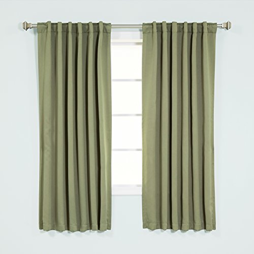 Best Home Fashion Thermal Insulated Blackout Curtains - Back Tab/ Rod Pocket - Olive - 52'W x 63'L -...