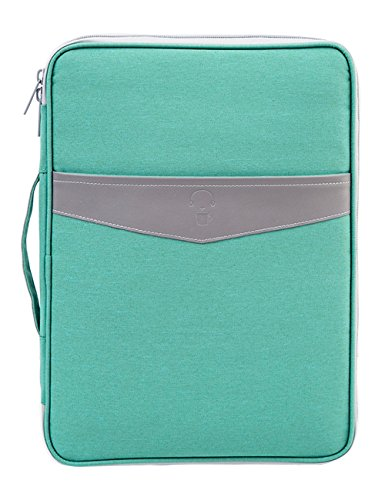 iSuperb Multi-functional Business A4 Document Bags Waterproof Oxford Files Organizer Travel Gear Organizer Zippered Case for Ipads, Notebooks, Pens, Documents Travel and Office (Green)