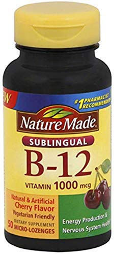 Nature Made B-12 1000 mcg Micro-Lozenges Cherry Flavor 50 ea (Pack of 8)