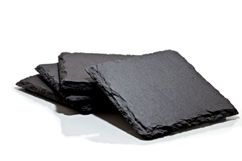 Slate Drink Coasters (Set of 4, 4 inch square) by Lagom Union ()