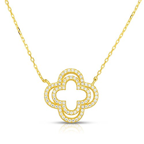 Unique Royal Jewelry Solid Sterling Silver Double Row Cubic Zirconia Open Four Leaf Clover Pendant Necklace. (White) (Yellow)