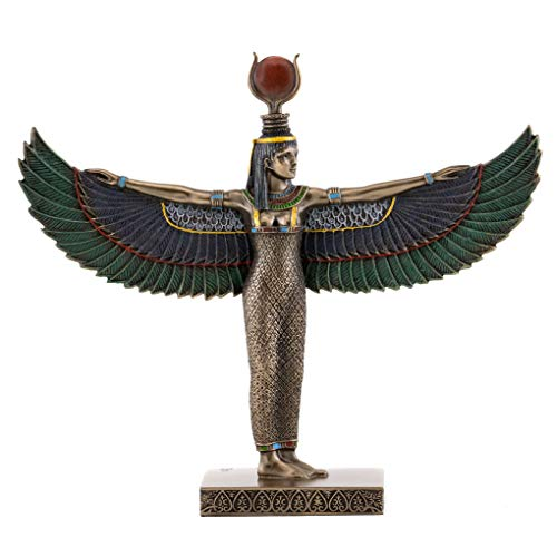 Top Collection Egyptian Isis Standing with Wings Spread Statue- Goddess of Magic Sculpture in Premium Cold Cast Bronze- 8.5-Inch Collectible Mother of Horus Figurine