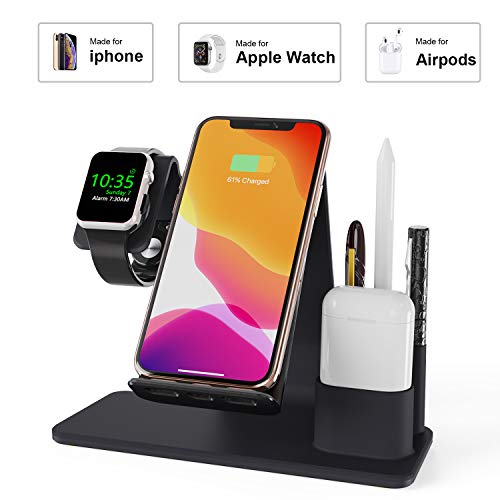 Wireless Charger, AUDON 3 in 1 Wireless Charging Pad for iPhone Apple Watch iWatch Series 4/3/2/1& AirPods, Wireless Charging Station Pad for iPhone 11/11 Pro/11 Pro Max/Xs/Xs Max/Xr/X/8/8 Plus