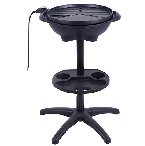 Almacén 1350W Non-stick 4 Variable Temperature Setting Indoor Outdoor Garden Camping Electric BBQ Grill Griller Without Smoke Patio Deck Backyard Yard Picnic Barbecue Cooking Removable Stand
