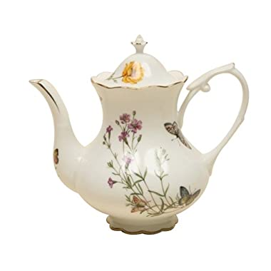 Gracie China Butterfly Porcelain 4-Cup Teapot
