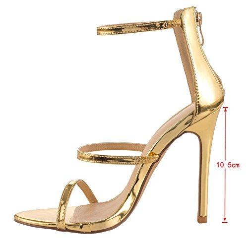 EKS - Sandalias de vestir de Material Sintético para mujer dorado