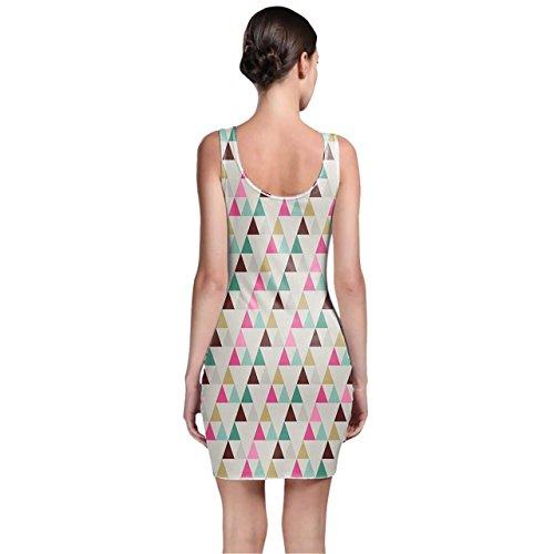 Pastel geométrico triángulos Bodycon vestido XS-3X L sin mangas elástico corto vestido