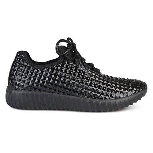Sneakers Leggera Con Lacci In Rilievo In Pelle Sintetica Brinley Co Nero