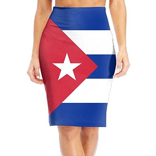 CAWHJDW Flag of Cuba Womens High Waist Bodycon Midi Pencil Skirt Elegant Slim Office Skirt -