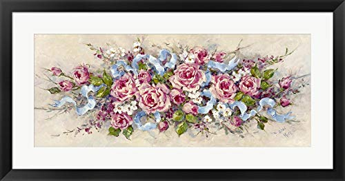 Ribbons and Roses by Barbara Mock Framed Art Print Wall Picture, Black Frame, 35 x 19 inches