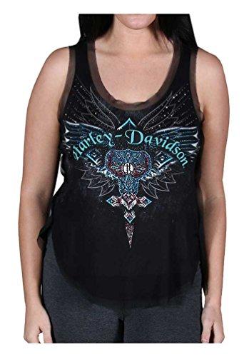 Womens Embellished Scoop Neck (Harley-Davidson Women's Rockin Cross Embellished Scoop Neck Tank Top, Black (L))