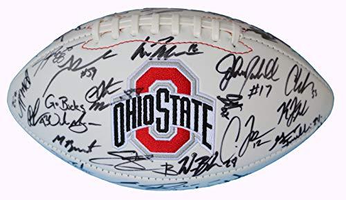 Ohio State Buckeyes 2014-2015 Team Signed Autographed White Logo Football Meyer Elliott PAAS LOA COA
