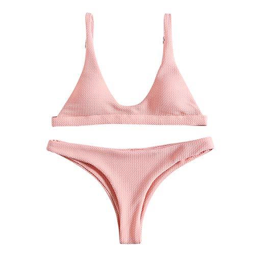 ZAFUL Women Padded Scoop Neck 2 Pieces Push Up Swimsuit Revealing Thong Bikinis V Bottom Style Brazilian Bottom Bra Sets(PINK M)