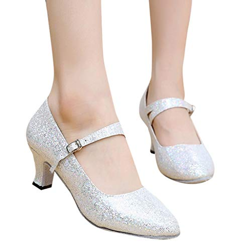Behkiuoda Women Dance Shoes Sandal Ballroom Latin Mid Heel Glitter Platform Bling Dress Party Shoes White
