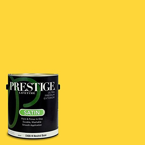 Prestige Paints E400-N-3010-1VP Exterior Paint and Primer in One, 1-Gallon, Satin, Comparable Match of Valspar Sunny Jonquil, 1 Gallon, VS114-Sunny