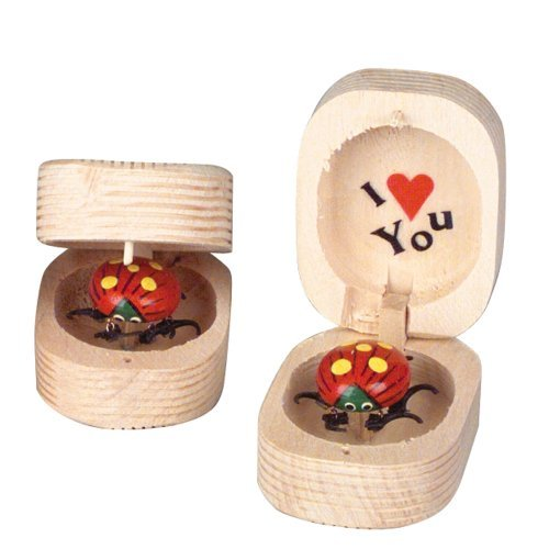 LOT OF 12- TOY WIGGILY LADYBUG LOVEBUG I LOVE YOU IN WOODEN BOX BOBBLE -