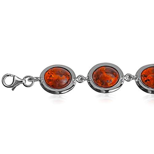 En argent sterling Ambre Ovale Bracelet 18cm