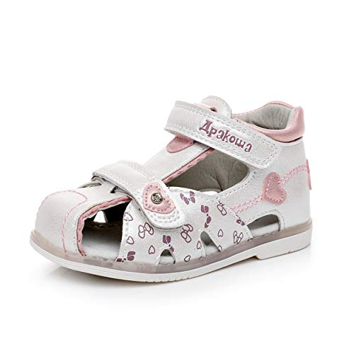 Apakowa Boy's and Girl's Double Adjustable Strap Closed-Toe Sandals (4 M US Toddler, White-C8)]()