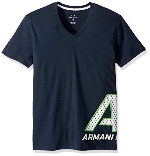 Exchange Short Sleeve T-shirt - A|X Armani Exchange Men's Short Sleeve V- Neck Large Graphic Logo T-Shirt, Navy, S