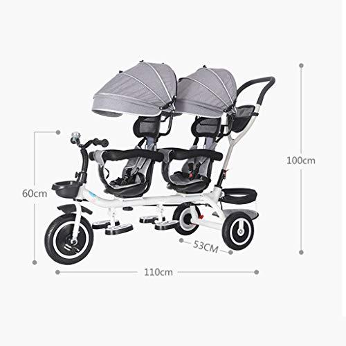 Amazon.com: Cochecito doble para bebés, doble triciclo para ...