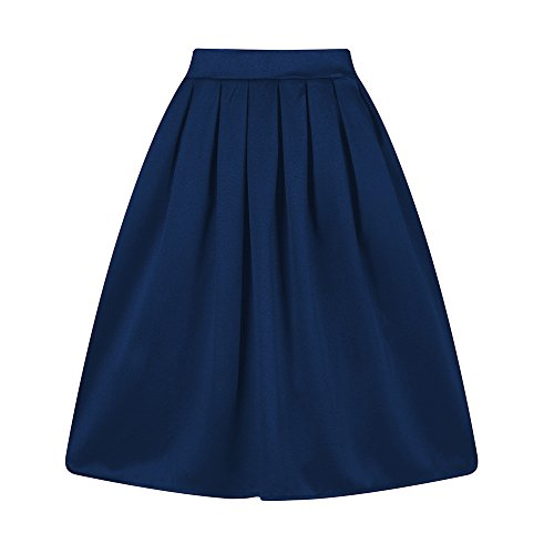 (Taydey A-Line Pleated Vintage Skirts for Women (L, Z-Navy Blue))