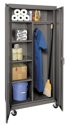 Sandusky TACR362472-02 36-Inch Wide by 24-Inch Deep by 78-Inch High Transport/Mobile Combination Wardrobe and Three-Shelf Storage Cabinet, Charcoal