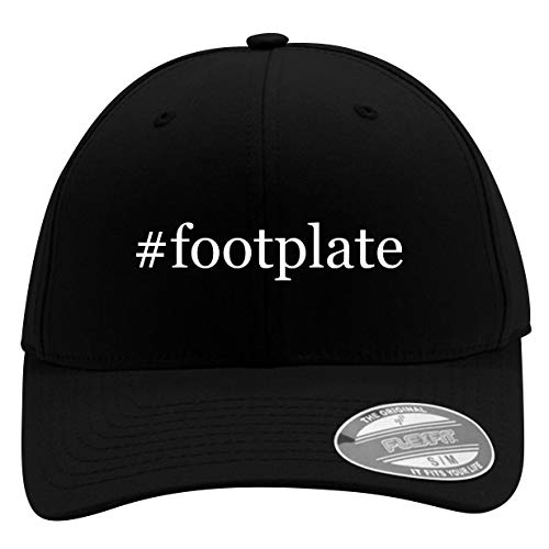 #Footplate - Men's Hashtag Flexfit Baseball Cap Hat, Black, - Aluminum Black Footplate