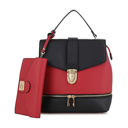 Fashion Casual Faux Leather Shoulder Bag Mini Backpack School Bag for Women 2pc | - Leather Faux Handbag Shoulder