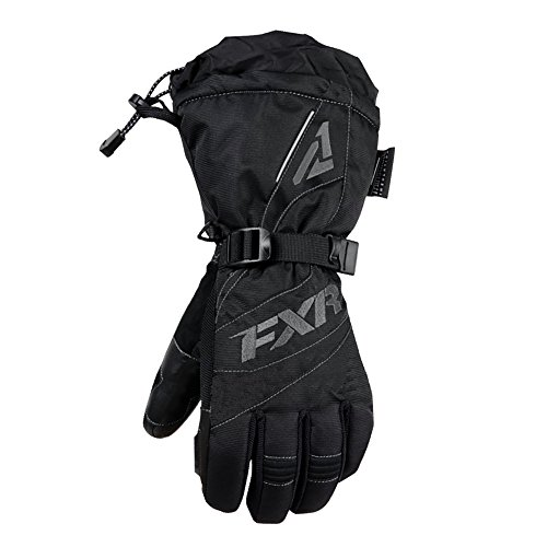 FXR Womens Snowmobile Insulated Waterproof Polar Fleece Lining Fusion Gloves - Black/Charcoal - X-Small