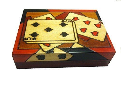 Polish Wood Playing Card Box Detailed Royal Flush Handmade Wood Keepsake Box