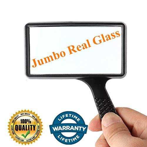 3X Handheld Magnifying Glass Lens,Jumbo Size Rectangular Hand held Genuine Glass Reading Magnifier for Seniors