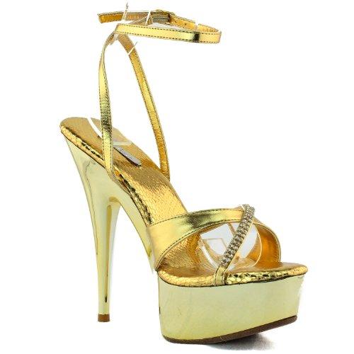 Mujeres Celeste Nicole-05 Correas De Diamantes De Imitación Metálicas Sandalias Zapatos De Moda Oro