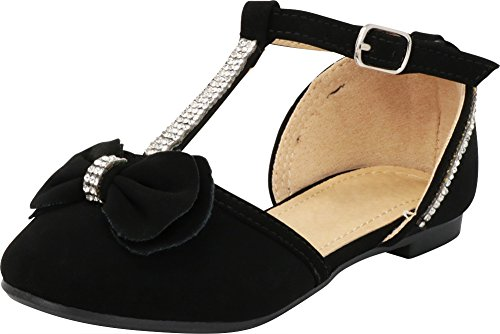 Cambridge Select Girls' Closed Toe T-Strap Buckle Crystal Rhinestone Bow Ballet Flat (Toddler/Little Kid/Big Kid),4 M US Big Kid,Black by Cambridge Select