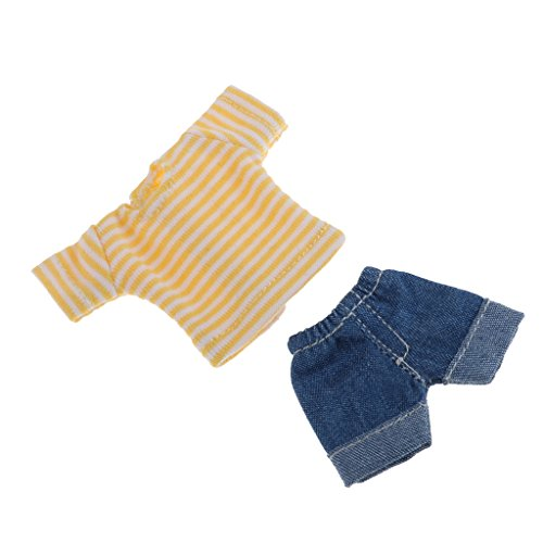 Baoblaze Lovely Two-piece Outfits Jeans And Yellow Top For Obitsu11 Mini Blythe Dolls Accessory ()