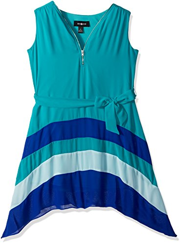 Amy Byer Big Girls' Sleeveless Colorblock Dress with Zipper and Self Belt, Teal, 10