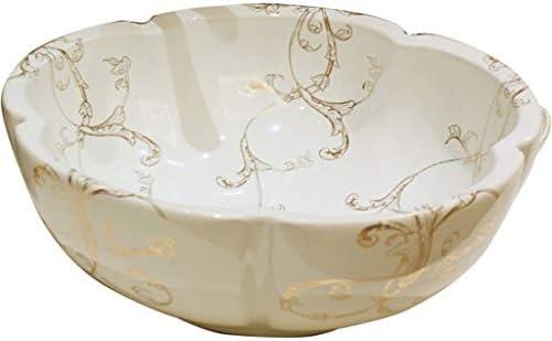 洗面ボール・洗面器 白い花びら型のバスルーム 洗面台 カウンター盆地の上のヴィンテージのつる 庭の廊下のロマンチックなシンク (Color : 白, Size : 40*14cm)