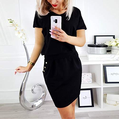 Pour Femmes À Manches Courtes Robe Soirée Noir Qinmm De wWPqUY4nc1