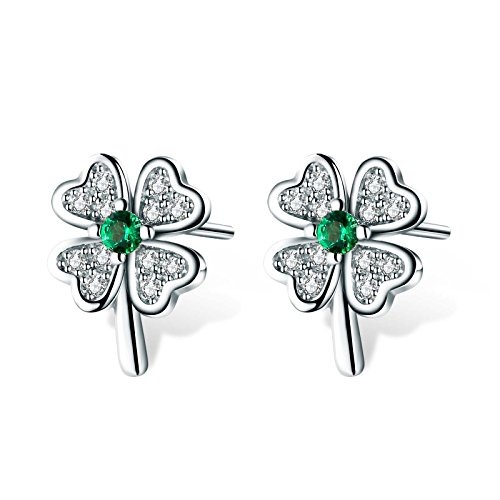 T400 925 Sterling Silver Green Cubic Zirconia Dragonfly Necklace Pendant and Clover Stud Earrings Jewelry Set Lucky Birthday Gift for Women Girls