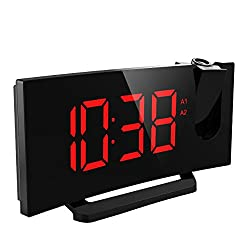 Mpow Projection Clock, FM Radio Alarm Clock, Curved-Screen Digital Alarm Clock, 5'' LED Display with Dimmer, Dual Alarm with USB Charging Port, 12/24 Hours, Backup Battery for Clock Setting (Red)
