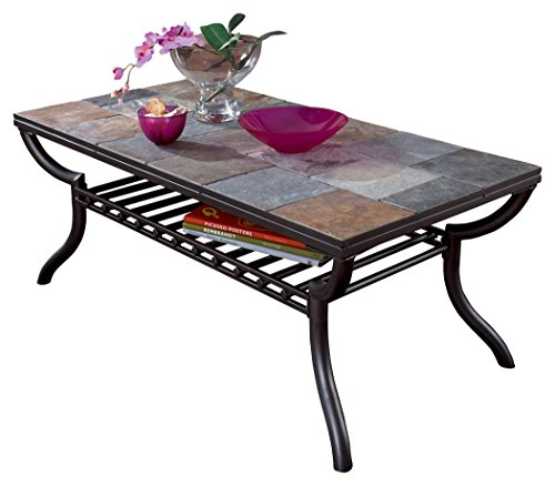 Ashley Furniture Signature Design - Antigo Coffee Table - Slate Top with Metal Bottom - Cocktail Height - Contemporary - Black (Coffee Tables Tile Top)
