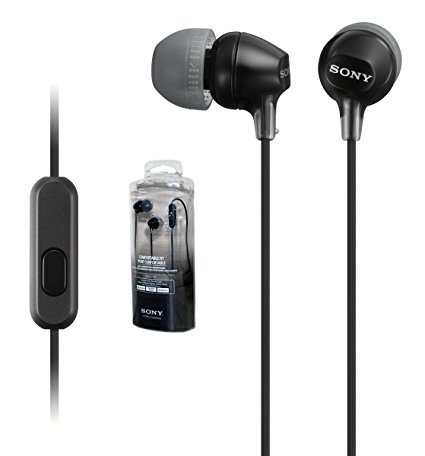 Original New Sony Stereo Headphones MDR-EX15AP - Black with Mic & Remote - for Android/Apple/Rim/Windows - (Retail Packing)
